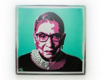 Ruth Bader Ginsburg Spray Paint Wall Art   Original Stencil Painting on Canvas