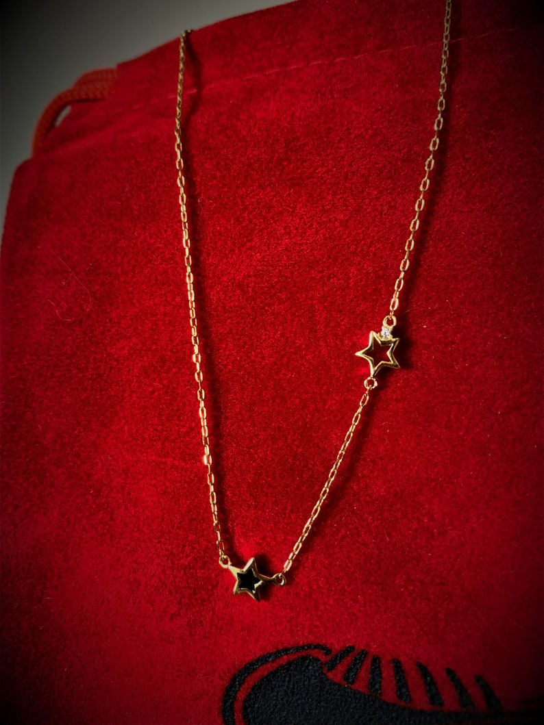 Red /& Black Color Gold Plated Sterling Silver Short Necklace 16.1