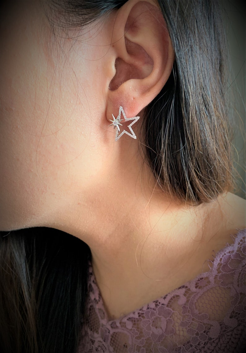 Wedding Party Daily Wearing Stainless Steel /& 925 Sterling Silver Stud Earring Bridesmaid Gift