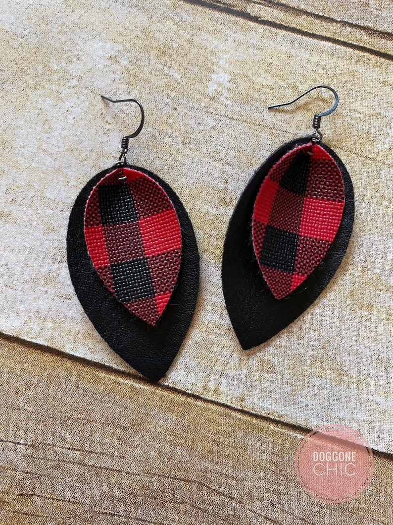 Fall Christmas Buffalo plaid leather gingham red black leather earrings leather leaf magnolia earrings buffalo check earring