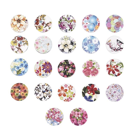 100pcs Mixed Round Flower Round 2 Hole Wooden Buttons for Sewing Craft 20mm
