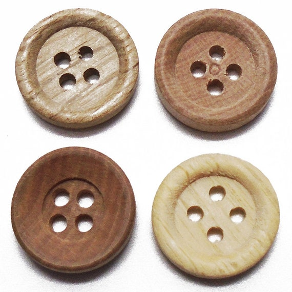 20pcs 30mm Round Brown Black Wood Buttons 4 Holes Sewing Buttons for DIY Crafts