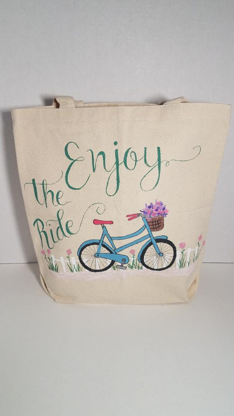 Hand Painted Canvas Enjoy The Ride Tote