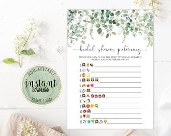 Bridal Shower Emoji Pictionary Game, Printable Eucalyptus Bridal Shower Emoji Pictionary, Greenery Emoji Pictionary Bridal Shower Game