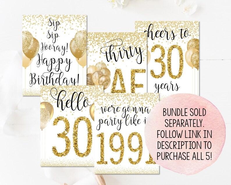Printable Birthday Sign Printable Birthday Party Decorations 30 Birthday Decorations Printable Gold Thirty AF Sign 30th Birthday Sign