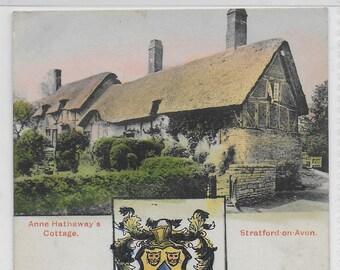 Anne Hathaway's Cottage - Shakespeare's House, Stratford on Avon, Warwickshire - Vintage Real Photo Postcard