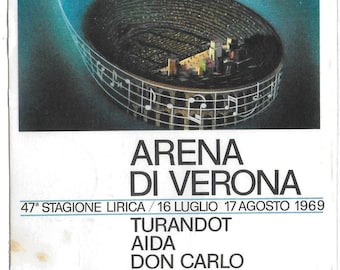 RARE - VERONA ARENA 1969 - Turandot & Don Carlo - 47th Opera Season 1969 - Used Vintage Postcard Posted 25th July 1969 - Interesting Message