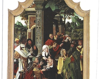 The MAGI PICTURE by Martin SCHWARZ 1480 - Unused Vintage Postcard Published by Jarrold showing Adoration of the Infant Christ by the Magi