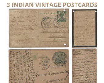 3 INDIAN VINTAGE USED Postcards