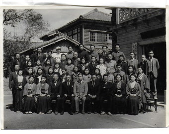 Group Photograph with Paper Index Covering -  Approx Size 6 x 4 See Photo VINTAGE JAPANESE PHOTO