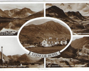 GLENCOE HOTEL, SCOTLAND - Used Valentine's Vintage Postcard Posted on 10th August 1955 showing Landscape Views
