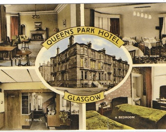 QUEENS PARK HOTEL, Glasgow, Scotland - Used Valentine's Vintage Postcard Posted on 14th October  1966