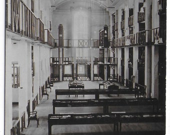 NATIONAL LIBRARY of WALES, Interior Library Hall - Unused Vintage Postcard
