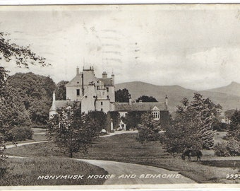 MONYMUSK HOUSE and BENACHIE, Scotland - Used Valentine's Vintage Postcard Posted on 14th July 1952