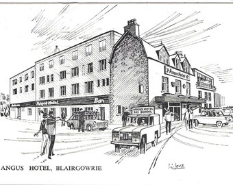 ANGUS HOTEL, BLAIRGOWRIE, Scotland - Used Vintage Postcard POsted in 1970 Published by Waterloo Galleries, Glasgow