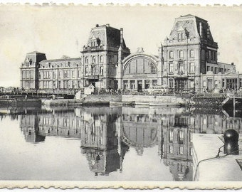 1955 - OSTENDE MARITIME STATION, Belgium - Used Vintage Postcard Written on 18 May 1955