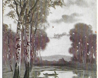PAINTING of Rowing Boat on a Lake - Used Vintage Postcard Written on 20th May 1913