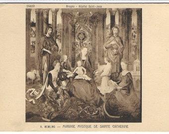 Mystical Wedding of Saint Catherine by H Memling - Unused Vintage Postcard