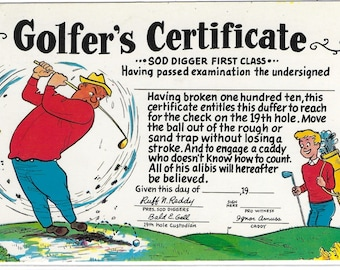 GOLFER'S CERTIFICATE - Used Vintage Postcard Posted in 1969 Published by Colourpicture Publishing