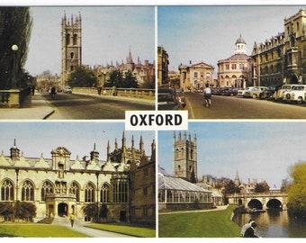 LANDMARKS OF OXFORD - Unused Vintage Postcard showing Magdalen and Oriel College