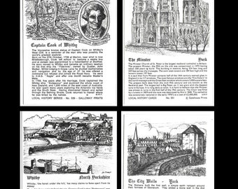 LOCAL HISTORY SERIES - 4 Unused Information Vintage Cards - Captain Cook, Whitby, York Minster and York City Walls by Galloway Prints