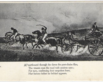 GRETNA GREEN -Famous Picture and Verse entitled PURSUED - Unused Vintage Postcard Published by The Blacksmith's Shop. Gretna Green, Scotland