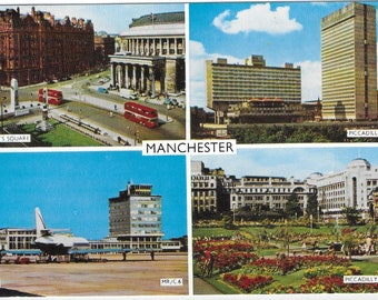 MANCHESTER LANDMARKS - Used Vintage Postcard Posted on 7th August 1970 Published by Colin Richardson