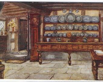 ANNE HATHAWAY'S COTTAGE, The Kitchen, Stratford-Upon-Avon, Warwickshire - Used Salmon Postcard - Painting by W W Quatremain