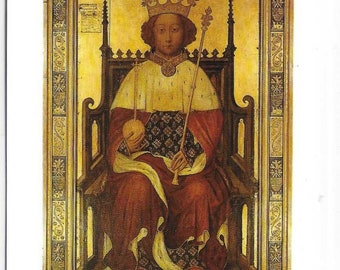 WESTMINSTER ABBEY, Portrait of King Richard II Painted 1395 - Vintage Postcard Photo by Malcolm Crowthers