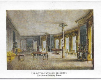 The ROYAL PAVILLION, BRIGHTON, East Sussex showing The North Drawing Room - Vintage Postcard - Unused
