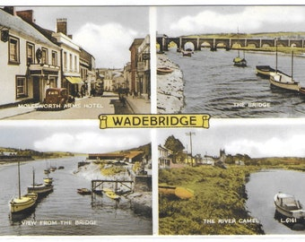 WADEBRIDGE LANDMARKS, Cornwall - Unused Valentine's Vintage Postcard showing Molesworth Arms Hotel, River Camel and The Bridge