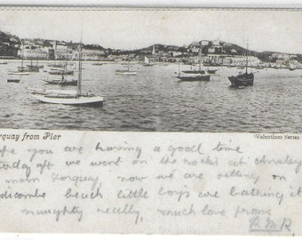 TORQUAY from Pier, Devon - Used Vintage Postcard Posted in 1905