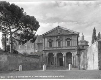 Chiesa e convento di S. Sebastiano sulla via Appia - The Basilica of San Sebastiano, Rome, Italy - Unused Vintage Italian Postcard