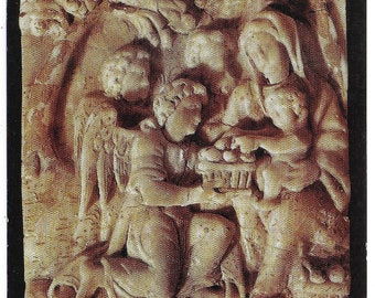Alabaster Carving FLIGHT INTO EGYPT Found Na Ferta, Armagh - Unused Vintage Postcard Published by Ulster Museum