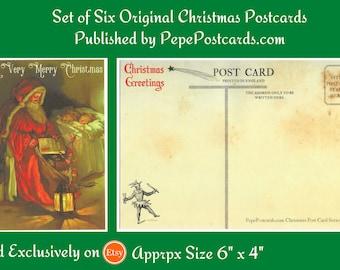 "A VERY MERRY CHRISTMAS - Set of 6 New and Unused Father Christmas Original Christmas Postcards Sized 6"" x 4"" Original Christmas Design"