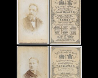 """Set of 2 - Lady and Gent Cartes-de-Visite CDV Photo by Photographer A & G Taylor London, Photographers to The Queen - Approx Size 4"""" x 2.5"""""""