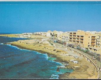 BUGIBBA SEAFRONT, MALTA - Used Vintage Postcard