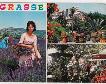 GRASSE, FRENCH RIVIERA, France - Used French Vintage Postcard Posted in 1982