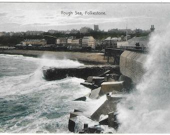 FOLKSTONE ROUGH SEA, Kent - Unused Vintage Postcard