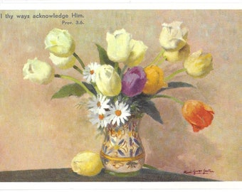 In all thy ways acknowledge him  Proverbs 3:6 - Used Vintage Floral Postcard Written on the 28th Jan 1970