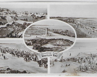 LANDMARKS of WHITLEY BAY, Tyne and Wear - Unused Vintage Postcard published by The R A (Postcards) Ltd