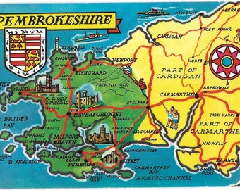 MAP of PEMBROKESHIRE, WALES - Used Vintage Welsh Postcard Posted on 10th August 1978 Published by Colourmaster