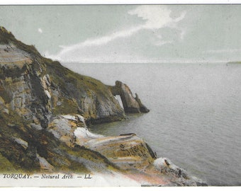 TORQUAY NATURAL ARCH, Devon - Used Vintage Postcard Posted on 8th April 1913