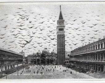 ST. MARK'S SQUARE, Venice, Italy - Unused Italian Vintage Postcard entited Flying Pigeons