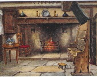 ANN HATHAWAY'S COTTAGE Chimney Corner, Stratford-on-Avon, Warwickshire from Artist W W Quatremain  - Unused Vintage Postcard