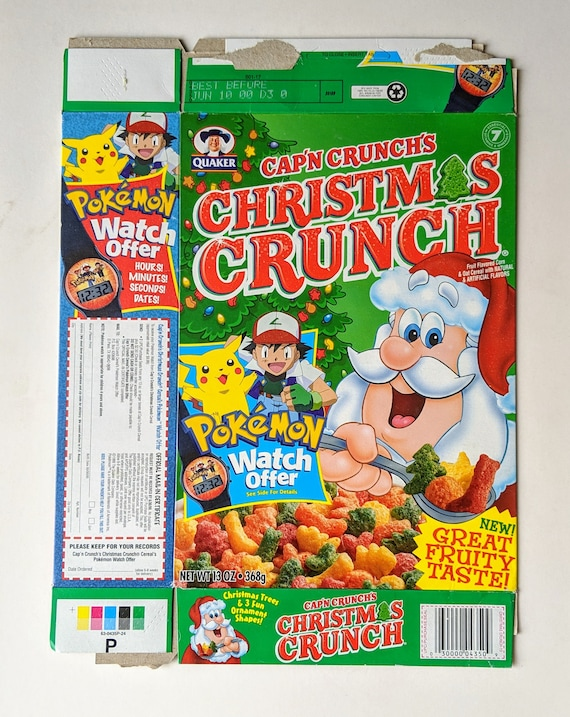 Christmas Crunch Cereal.Pokemon Pikachu Captain Crunch S Christmas Crunch Cereal Box Flat 13 Oz 1999 Carbohydrate Energy Orange Pop Vintage