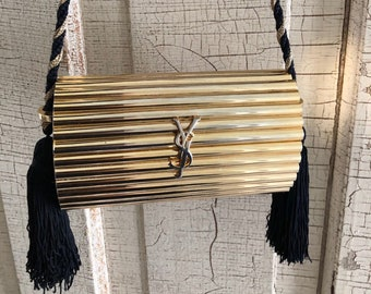 abddfc0533c7 Vintage YSL Gold Tassel Iconic Metal Evening Bag 1980 s Clutch Yves Saint  Laurent Minaudière