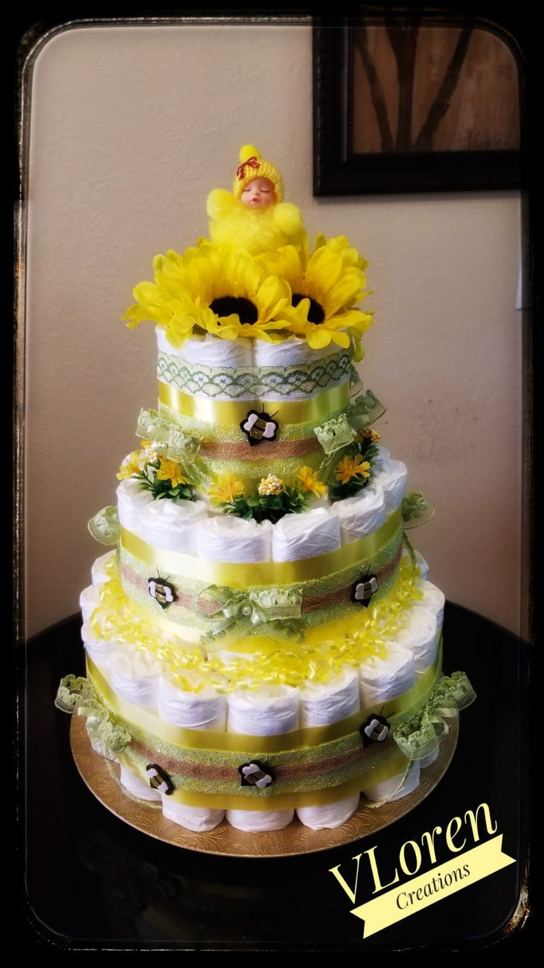 Baby Gift Sunflower and Bees Theme Diaper Cake Baby Shower