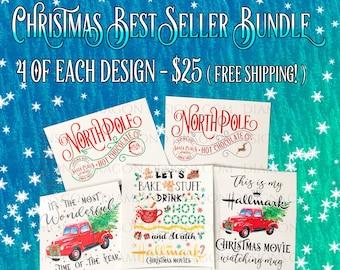 24 Christmas Tumbler Waterslides, Laser Printed, Christmas Best Sellers Bundle, 4 of each Design, No Sealing, Waterslide Decals for Tumblers