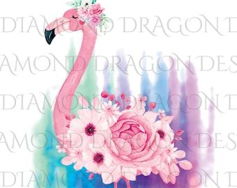 Watercolor Floral Flamingo, Flower Flamingo, Watercolor Flamingo, Floral Flamingo, Waterslide, Digital Image Download, ClipArt, PNG JPG File
